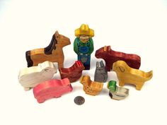 wooden farm animal toys $75