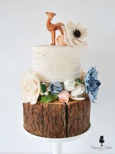 This was my piece for the Me Myself and I cake collab. I was given Suzanne Esper's cake as inspiration and had to create a masterpiece using that. Birch Wedding Cakes, Succulent Wedding Cakes, Fondant Wedding Cakes, Themed Wedding Cakes, Fall Wedding Cakes, Wedding Cake Rustic, White Wedding Cakes, Rustic Cake, Themed Cakes