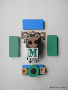 Robot Ornament  Mariners Mascot Bot  Upcycled by redhardwick