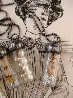 Tiny soldered glass bottles: Pearls of Wisdom by rochellemybelle