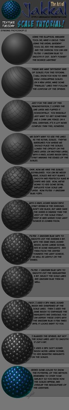 Texture Tuesday: Scales Tutorial by jakkalwolf.deviantart.com on @deviantART