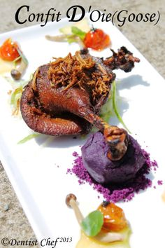 Confit d'Oie /Goose Confit Recipe Serve with Mashed Purple Sweet Potato, Cherry Tomato & Musrooms Confit Confit Recipes, Meat Recipes, Wine Recipes, Sausage Recipes, Cooking Recipes, Swan Recipe, Beef Sticks Recipe, Okinawan Sweet Potato, Butter Poached Lobster