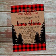 Rustic buffalo plaid baby shower invitation. Perfect for a winter or lumberjack themed shower.