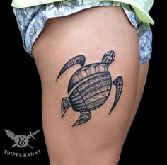 Tribal sea turtle design by Tripps Kaha'i