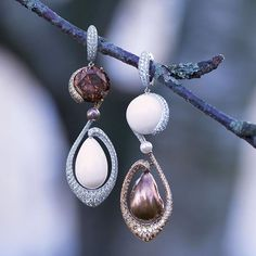 The Autumn Series by Boghossian - Natural Pearls and Colored Diamonds #Earrings. #Highjewelry