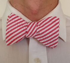 Handmade Bowtie  Red Stripe Seersucker by toddsties on Etsy