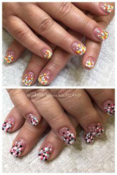 confetti nail art, polka dot nail art, design tip manicure, fun nail art, cute nail designs, festive nails, elegant nails, short nail designs