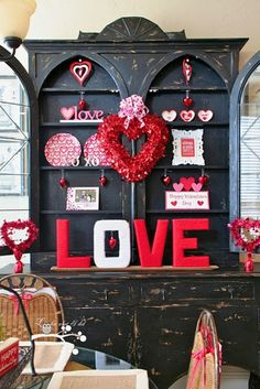 Like this idea for my China hutch on vday