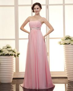 osell wholesale dropship Empire Strapless Floor Length Classic Chiffon Prom Dress $66.92