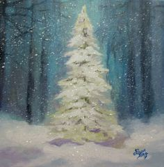 Christmas Tree Painting Original by Followthepaintedroad on Etsy, $75.00