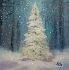 Christmas Tree Painting Original by Followthepaintedroad on Etsy, $75.00