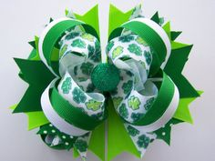 Sweet StPatrick's Day Boutique Bow by laladivabowtique on Etsy, $8.50