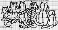 chat - cat - family - point de croix - cross stitch - Blog : http://broderiemimie44.canalblog.com/