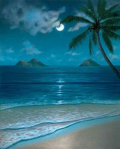 One of Hawaii artist Thomas Deir's popular tropical beach scenes paintings featuring a breathtaking full-moon view of the Mokulua Islands and the Milky Way. Beautiful Nature Pictures, Beautiful Nature Wallpaper, Beautiful Moon, Beautiful Beaches, Beautiful Landscapes, Beach Wallpaper, Seascape Paintings, Tropical Paintings, Beach Paintings