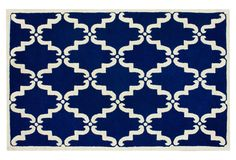 Inspiration Rug for under bed. Bright Cobalt Blue will be a beautiful contrast to your white bed.