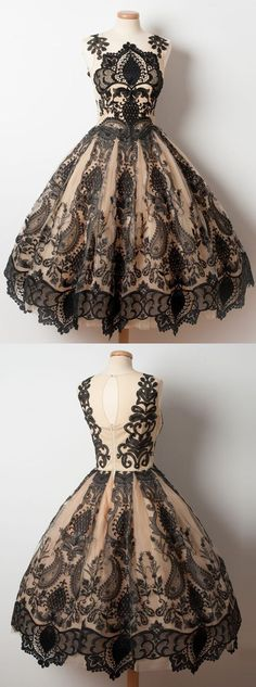 Vintage Dresses 2017 homecoming dresses,short homecoming dresses,short prom dresses,lace homecoming dresses,black homecoming dresses - A-Line Jewel Tea-Length Champagne Tulle Homecoming Dress with Black Appliques Short Graduation Dresses, Dresses Short, Formal Dresses, Wedding Dresses, Dresses Dresses, Wedding Shoes, Dresses 2016, Bride Dresses, Ball Dresses