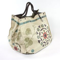 'Circus Cube Tote' by Bontemps, France, from the Juniper Hearth e-Emporium. Large handbag with retro print with moss green, purple and red accents. $195.