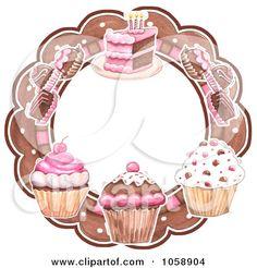 Royalty-free vector clipart illustration of cupcakes truffles and cake circular bakery logo. This cupcake stock logo image was designed and digitally rendered by Gina Jane. Cupcake Logo, Cupcake Bakery, Cupcake Art, Cupcake Pictures, Cupcake Images, Logo Doce, Cupcake Illustration, Cake Logo Design, Circular Logo