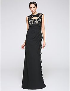 TS Couture® Formal Evening Dress Sheath / Column Jewel Floor-length Chiffon with Lace / Side Draping – CAD $ 125.09