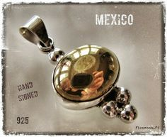 Vintage silver pendant with golden details - from Mexico - www.flearoom.fi