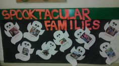 A good way to display your students family photos. Halloween crafts for preschool