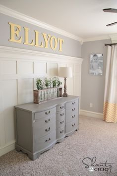 Amazing Gray - walls; dresser: Anonymous and white is Antique White -- all Sherwin Williams colors. | Favorite Paint Colors Blog