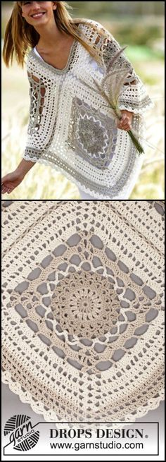 Transcendent Crochet a Solid Granny Square Ideas. Inconceivable Crochet a Solid Granny Square Ideas. Poncho Au Crochet, Crochet Bolero, Poncho Knitting Patterns, Crochet Shawls And Wraps, Crochet Motifs, Granny Square Crochet Pattern, Crochet Squares, Crochet Lace, Crochet Patterns