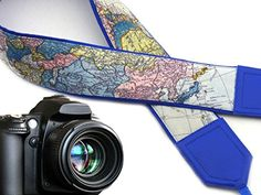 North America camera strap. Europe. Asia. World map camera strap. Bright blue DSLR / SLR camera strap. Durable, light weight and well padded camera strap. code 00277 - Brought to you by Avarsha.com