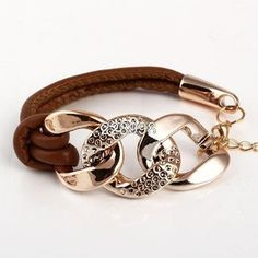 2014 venda quente novo estilo moda corrente de ouro pulseiras de couro feminino três círculo baratos Exquisite pulseiras para as mulheres navio livre