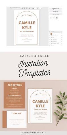 These modern boho wedding invitations in terracotta are perfect for weddings on a budget. Printable templates allow you to DIY print at home or send to our printing partner - instructions included with every order!