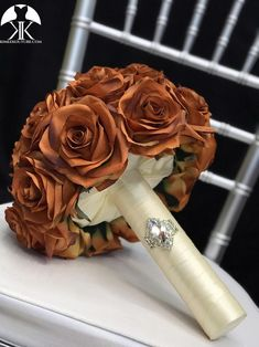 BURNT ORANGE Bridal Bouquet With BROOCH Handle. Burnt Orange Bouquet. Burnt Orange Brooch Bouquet. Burnt Orange Wedding. Qunceanera Bouquet. Pick color!! Bouquet measures approximately 11 wide and 13 in height.  This dreamy Burnt Orange Weddings, Hot Pink Weddings, Aqua Wedding, Bling Wedding, Flower Ball Centerpiece, Red Centerpieces, Mickey Centerpiece, Crown Centerpiece, Blush Bridal Showers