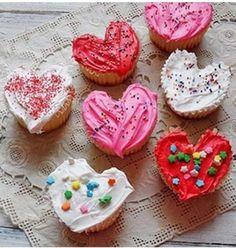 Cupcakes en forme de cœur pour la saint Valentin