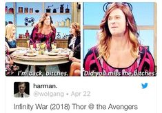 Thor absolutely slays in Infinity War I totally said this on his behalf in my head while watching.