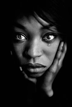"""Wild or Sad"" - Aidan Photograffeuse, {African-American black woman tear face portrait photograph}"