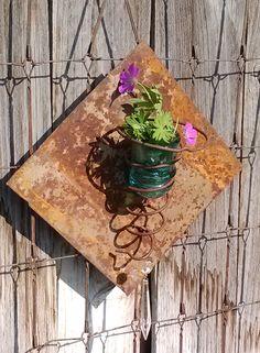 Rusty Tin, Bedspring, Insulator & Vintage Crystal