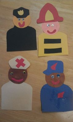 Community Helpers - Police, Fire, Nurse, Post Children will create a community helper and write a paragraph about what a community helper does to help people with limited teacher guidance. Preschool Projects, Daycare Crafts, Classroom Crafts, Preschool Crafts, Preschool Activities, Space Activities, Kids Crafts, Community Helpers Crafts, Community Helpers Kindergarten