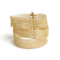 Easy to wear gold layered bracelet, a classic design with a modern twist. Three strands that gently stack on your wrist, such as a lace bracelet. Such as all of my creations, this cuff is handmade, fo