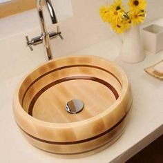 Exciting photo - take a peek at our website for a lot more good ideas! Small Bathroom Vanities, Bathroom Basin, Wood Bathroom, Wooden Bathroom Accessories, Zen Furniture, Wooden Bathtub, Wood Sink, Bathroom Gallery, Sink Design