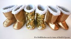 Gold boots for dolls