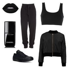 """BLACK TIME "" by daria0151212 on Polyvore featuring мода, adidas Originals, Donna Karan, Converse, Lime Crime и Chanel"