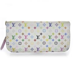 This is an authentic LOUIS VUITTON Multicolor Insolite Wallet in Litchi.   This lovely clutch wallet is crafted of Louis Vuitton mini multicolore monogram on white toile canvas.
