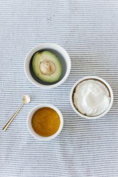 DIY three ingredient Avocado Honey Yogurt face mask #theeverygirl #diy