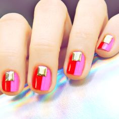 red + pink color-blocked mani.
