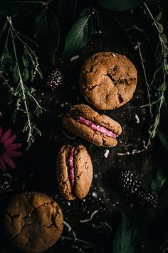Chocolate Chip Ginger Cookies with Blackberry Coconut Mascarpone Cheese filling