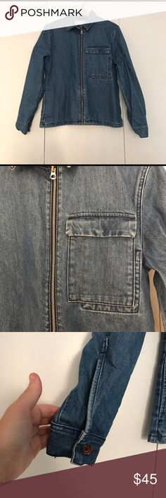 Zara Denim 1975 Denim Jacket Distressed men's denim jacket from Zara's 1975 collection. Size small. One deep breast pocket and two sleeves with one button each. Zara Jackets & Coats Lightweight & Shirt Jackets