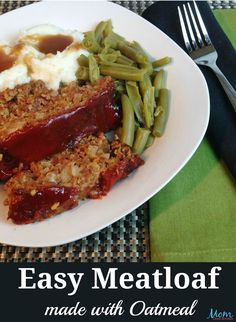 Easy Meatloaf Recipe with Oatmeal recipe with onion soup mix Easy Meatloaf with Oatmeal for a Great Family Meal! Easy Meatloaf Recipe With Oatmeal, Meatloaf With Oatmeal, Classic Meatloaf Recipe, Meat Loaf Recipe Easy, Oatmeal Recipes, Classic Recipe, Healthy Meatloaf, Best Meatloaf, Meatloaf Recipes