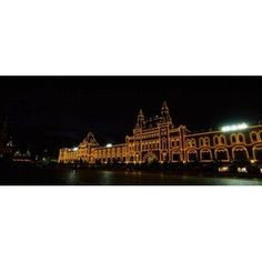 Facade of a building lit up at night GUM Red Square Moscow Russia Canvas Art - Panoramic Images (30 x 13)