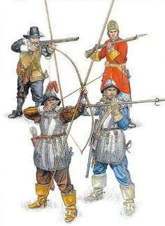 左下:パイク&ボウ 右下:パイク&カービン 左上:ハーフパイク&マスケット 右上:プラグ式銃剣&フリントロックマスケット  全部イギリス