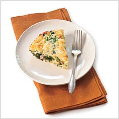 Spicy Ham-and-Greens Quiche Recipe...freezer version: bake at 35 for 45 mins