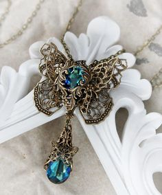 EMERGENCE romantic Victorian filigree butterfly necklace in aged brass with Swarovski crystal, free gift boxing